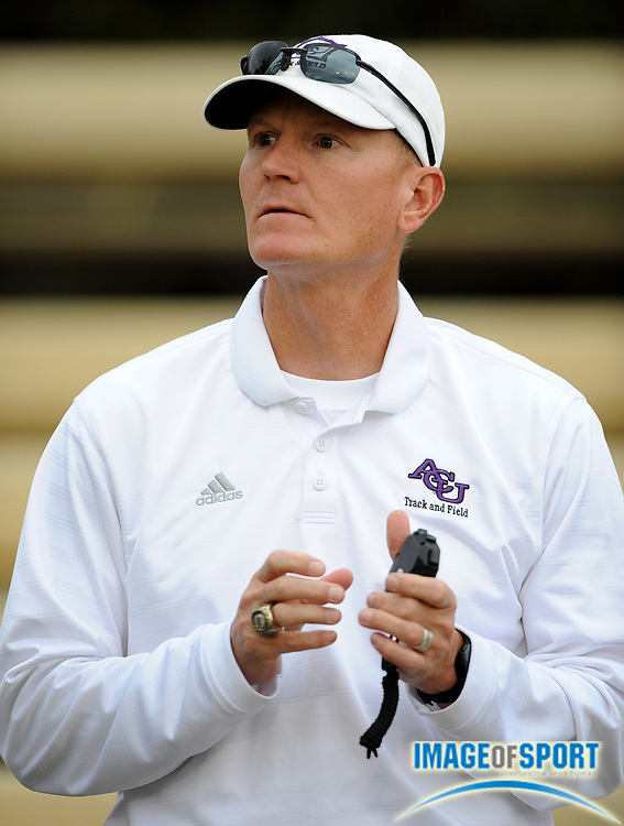 May 24, 2008; Walnut, CA, USA; Abilene Christian coach Don Hood holds a stopwatch during the NCAA Division II Track & Field Championships at Mt. San Antonio College's Hilmer Lodge Stadium.