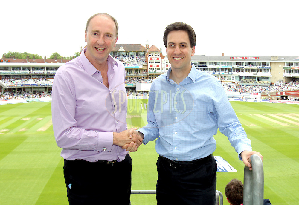 © Andrew Fosker / Seconds Left Images 2012 - Labour Leader Ed Miliband (R)  meets with Jonathan Agnew of BBC Test Match Special at  England v South Africa - 1st Investec Test Match -  Day 3 - The Oval  - London - 21/07/2012