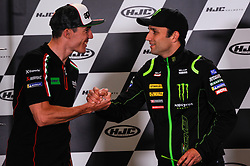 May 17, 2018 - Le Mans, France, France - Pol Espargarò and Johann Zarco attends a press conference of France MotoGP at Circuit Bugatti Le Mans. (Credit Image: © Gaetano Piazzolla/Pacific Press via ZUMA Wire)