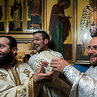 Milano, Italia - 6 Gennaio 2016: Vigilia di Natale nella Parrocchia Ortodossa dei Santi Nicola e Ambrogio al Lazzaretto di Milano<br />