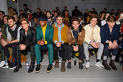 (l-r) Jim Chapman, Oliver Proudlock, Eric Underwood, Darren Kennedy, Deano Bugatti, Oliver Cheshire and Toby Huntington-Whiteley on the front row during the Christopher Raeburn London Fashion Week Men's AW18 show, held at the BFC Show space, London. Picture date: Sunday January 7th, 2018. Photo credit should read: Matt Crossick/ EMPICS Entertainment.