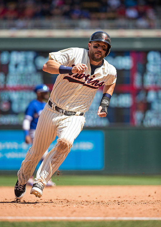 MINNEAPOLIS, MN- MAY 30: Trevor Plouffe #24 of the Minnesota Twins runs against the Toronto Blue Jays on May 30, 2015 at Target Field in Minneapolis, Minnesota. The Twins defeated the Blue Jays 3-2. (Photo by Brace Hemmelgarn) *** Local Caption *** Trevor Plouffe