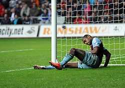 West Ham United's Ricardo Vaz Te injures him self clearing a corner and is replaced West Ham United's Matthew Jarvis - Photo mandatory by-line: Joe Meredith/JMP - Tel: Mobile: 07966 386802 27/10/2013 - SPORT - FOOTBALL - Liberty Stadium - Swansea - Swansea City v West Ham United - Barclays Premier League