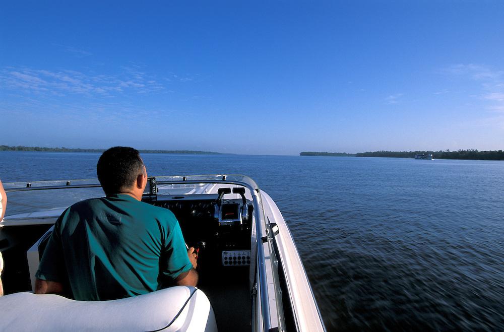 in Boat on Amazon River, Amazon Delta, Belem, Amazonia, Brazil
