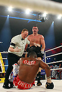Ukrainian boxer Vitali Klitschko knocks down challenger Juan Carlos Gomez of Cuba in their WBC heavyweight title fight on March 21, 2009 at the Hanns-Martin-Schleyer-Halle in Stuttgart, southern Germany.