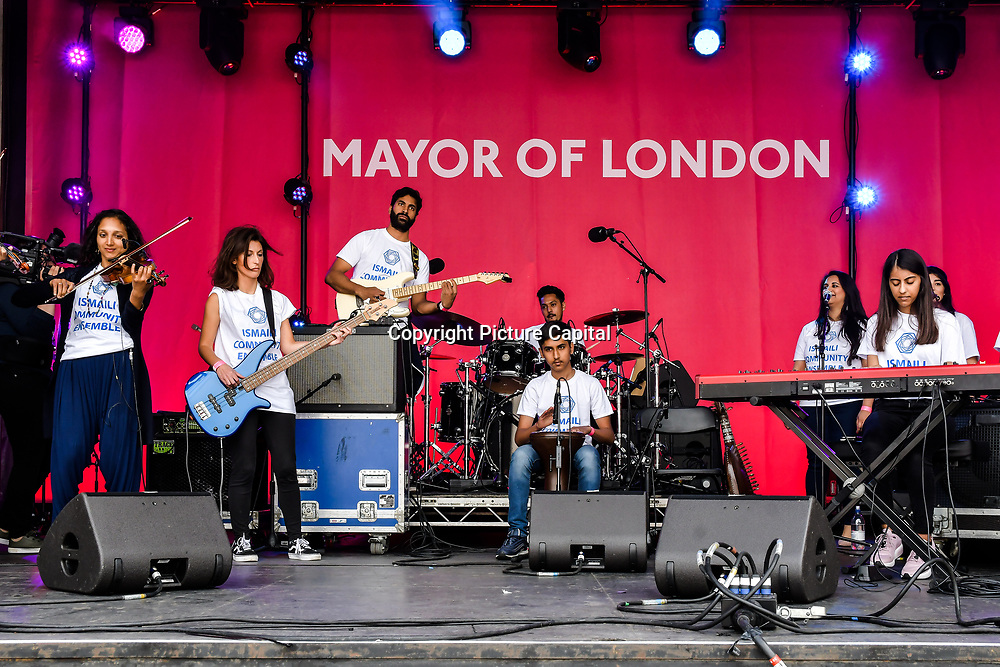 Ismaili Community Ensemble performs at the Eid festival in Trafalgar Square London to mark the end of Ramadan on 8 June 2019, London, UK.