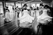 The Auckland Madang Hanurri group rehearses their Korean traditional dance routines for the upcoming Christmas parade, Sunnynook, Auckland.