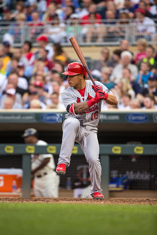 MINNEAPOLIS, MN- JUNE 17: Kolten Wong #16 of the St. Louis Cardinals bats against the Minnesota Twins on June 17, 2015 at Target Field in Minneapolis, Minnesota. The Twins defeated the Cardinals 3-1. (Photo by Brace Hemmelgarn) *** Local Caption *** Kolten Wong