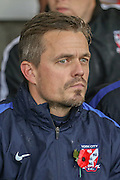 York City Assistant Manager Simon Donnolly   during the The FA Cup match between Accrington Stanley and York City at the Fraser Eagle Stadium, Accrington, England on 7 November 2015. Photo by Simon Davies.