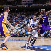 BASKET BALL - PLAYOFFS NBA 2008/2009 - LOS ANGELES LAKERS V ORLANDO MAGIC - GAME 3 -  ORLANDO (USA) - 09/06/2009 - .JAMEER NELSON (MAGIC), LAMAR ODOM (LAKERS), JORDAN FARMAR (LAKERS)