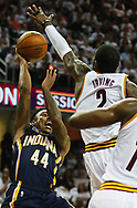 April 17, 2017 - Cleveland, OH, USA - Indiana Pacers guard Jeff Teague is blocked by Cleveland Cavaliers guard Kyrie Irving during the first quarter in Game 2 of an Eastern Conference playoff game on Monday, April 17, 2017, at Quicken Loans Arena in Cleveland, Ohio. (Credit Image: © Leah Klafczynski/TNS via ZUMA Wire)