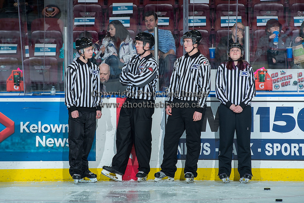 KELOWNA, CANADA - FEBRUARY 17: Linesman Cody Wanner stands on the ice during warm up with young BC Hockey officials as the Edmonton Oil Kings visit the Kelowna Rockets on February 17, 2018 at Prospera Place in Kelowna, British Columbia, Canada.  (Photo by Marissa Baecker/Shoot the Breeze)  *** Local Caption ***