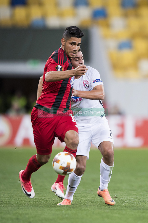 September 14, 2017 - Lviv, UKRAINA - 170914 Östersunds Hosam Aiesh och Zoryas Artem Sukhotskiy under fotbollsmatchen i Europa League mellan Zorya och Östersund den 14 september 2017 i Lviv  (Credit Image: © Johanna Lundberg/Bildbyran via ZUMA Wire)