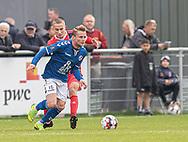 Mikkel Jensen (Holbæk B&I) under kampen i 2. Division mellem Holbæk B&I og FC Helsingør den 20. oktober 2019 i Holbæk Sportsby (Foto: Claus Birch).