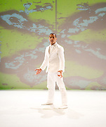 Jean Abreu<br /> at The Linbury Studio Theatre, Royal Opera House, Covent Garden, London, Great Britain <br /> Press photocall <br /> 27th June 2013 <br /> <br /> In Brazilian-born choreographer/dancer Jean Abreu's Blood, the internal becomes exposed and the inside is deconstructed. The work draws on Gilbert & George's The Fundamental Pictures, New Testamental Pictures and The Rudimentary Pictures, which feature microscopic images of bodily fluids. Abreu, creator of the Edinburgh Fringe smash-hit Inside, pushes himself to the limit in search of the raw experience of being alive.<br /> <br /> With music by Paul Wolinski, of 65daysofstatic, and cutting-edge motion-sensor technology by Mirko Arcese and Luca Biada, Blood inhabits, animates, destroys and rebuilds Gilbert & George's extraordinary works.<br /> <br /> Jean Abreu  <br /> <br /> <br /> Photograph by Elliott Franks