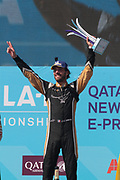 25,  Jean Eric VERGNE, (FRA)  Techeetah Formula E Team, Renault Z.E. 16 - celebration on the podium, final race of the season victory and Champion Formula E 2018 - with race trophy -  <br /> USA e-Prix, FIA Formula E, Formula E Grand Prix at the red hook Brooklyn New York harbor area on 15 July, 2018. Formel E in New York, Brooklyn, Red Hook port area. <br /> fee liable image, copyright@ ATP Arthur THILL