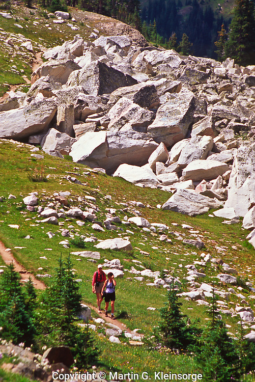 Hiking along the Lakes Trail of the Snowy Range.  Wyoming, USA.
