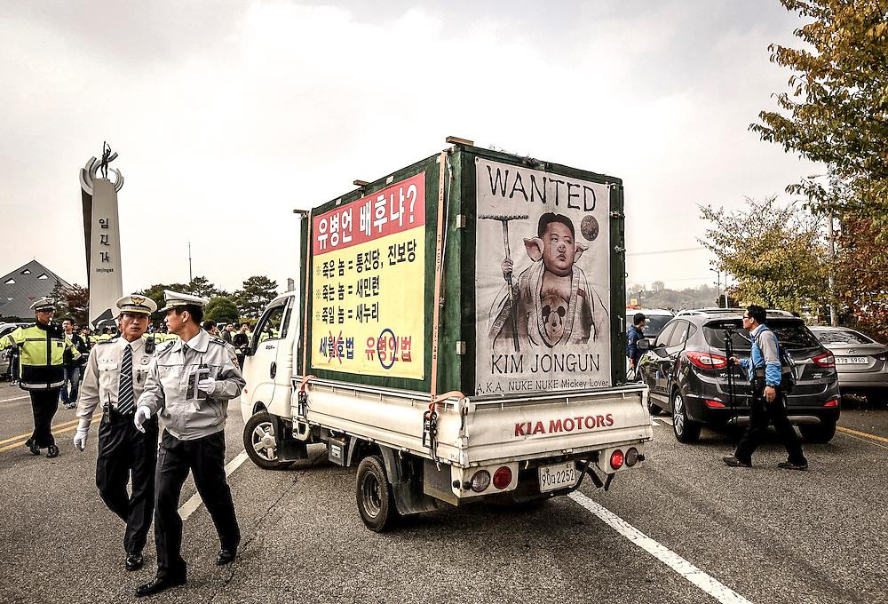 A truck with anti-North propaganda in Paju, South Korea, near the DMZ.
