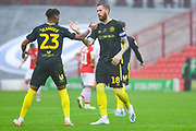 Brentford defender Pontus Jansson (18) and Brentford defender Julian Jeanvier (23) during the EFL Sky Bet Championship match between Barnsley and Brentford at Oakwell, Barnsley, England on 29 September 2019.