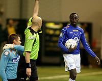 Fotball<br /> LSKhallen<br /> Treningskamp 28.02.2009<br /> Lillestrøm - Molde<br /> Pape Pate Diouf avslutter sin målfeiring når dommeren blåser for offside<br /> Foto: Eirik Førde
