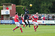 Dundee&rsquo;s Jean Alassane Mendy wins a header - Brechin City v Dundee pre-season friendly at Glebe Park, Brechin, <br /> <br /> <br />  - &copy; David Young - www.davidyoungphoto.co.uk - email: davidyoungphoto@gmail.com