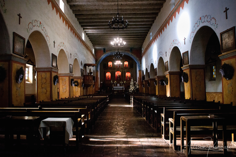 Architecture and details of the historic San Juan Bautista mission in California