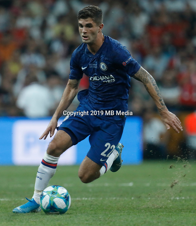 ISTANBUL, TURKEY - AUGUST 14: Christian Pulisic of Chelsea in action during the UEFA Super Cup match between Liverpool and Chelsea at Vodafone Park on August 14, 2019 in Istanbul, Turkey. (Photo by MB Media/Getty Images)