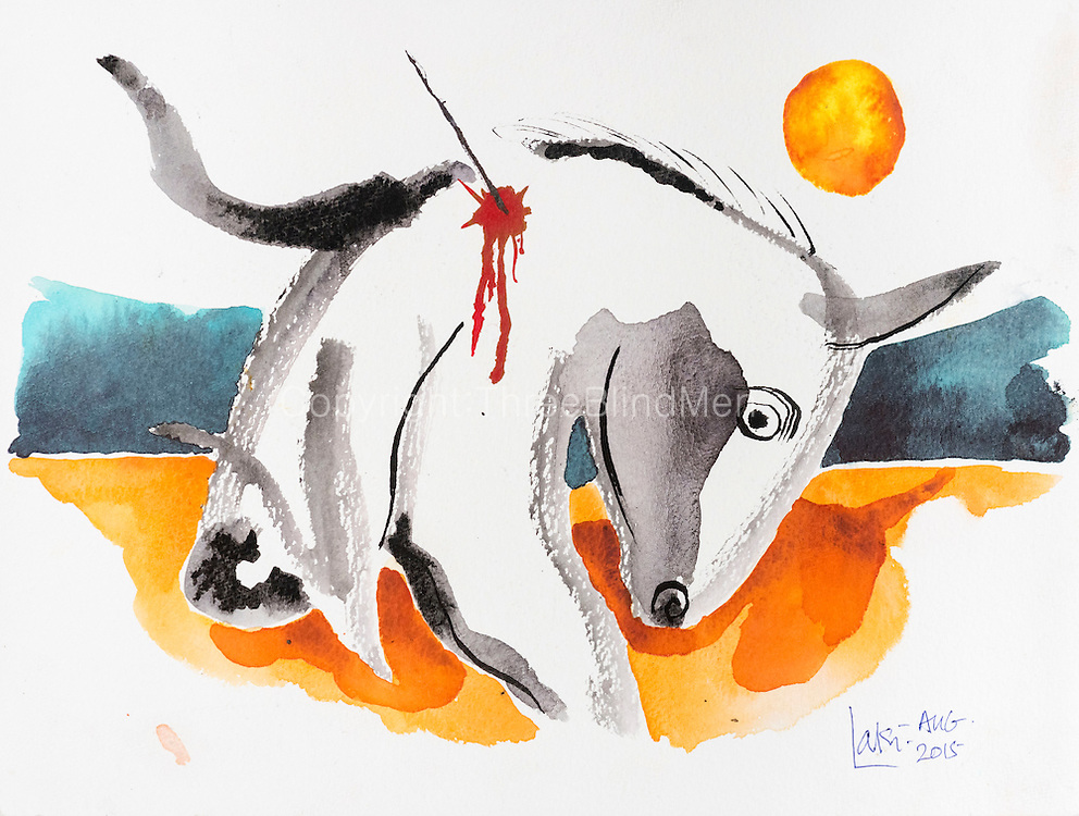 Laki Senanayake<br /> Dying Bull 18&quot; x 9&quot;<br /> WC on paper. Aug 2015<br /> <br /> Bought by Javier Perez, from Singapore.<br /> http://seriesofintentions.com   August 2017