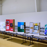 Artwork from local elementary students is displayed at the Cibola County Student Art Fair at the Milan Gymnasium Saturday.