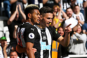 Fabian Schar (#5) of Newcastle United celebrates Newcastle United's first goal (1-1) with Joelinton (#9) of Newcastle United during the Premier League match between Newcastle United and Watford at St. James's Park, Newcastle, England on 31 August 2019.