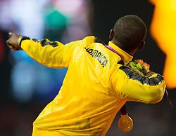 11.08.2012, Olympia Stadion, London, GBR, Olympia 2012, 4 x 100m Staffel, Herren, Podium, im Bild Gold medaille für Team Jamaica, Usain Bolt (JAM) // Gold medal Team Jameica, Usain Bolt (JAM) during Men's 4 x 100m Relay Podium at the 2012 Summer Olympics at Olympic Stadium, London, United Kingdom on 2012/08/11. EXPA Pictures © 2012, PhotoCredit: EXPA/ Johann Groder