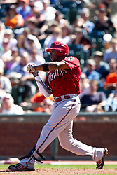 May 30, 2010; San Francisco, CA, USA;  Arizona Diamondbacks right fielder Justin Upton (10) at bat against the San Francisco Giants during the eighth inning at AT&T Park.  San Francisco defeated Arizona 6-5 in 10 innings.