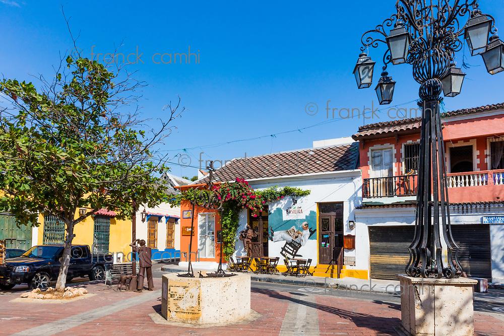 Cartagena , Colombia  - March 5, 2017 : Colorful streets of Getsemani<br /> area of Cartagena de los indias Bolivar in Colombia South America