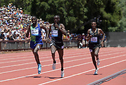 Jun 30, 2019; Stanford, CA, USA; Joshua Cheptegei (UGA) defeats Paul Chelimo (USA) to win the two mile, 8:07.54 to 8:07.59,during the 45th Prefontaine Classic at Cobb Track & Angell Field. Selemon Barega (ETH) was third in 8:08.69.