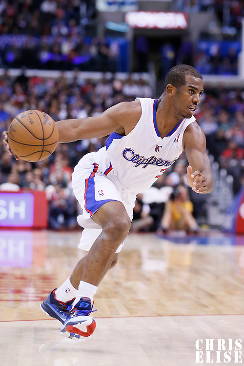 23 October 2013: Los Angeles Clippers point guard Chris Paul (3) dribbles during the Los Angeles Clippers 103-99 victory over the Utah Jazz at the Staples Center, Los Angeles, California, USA.