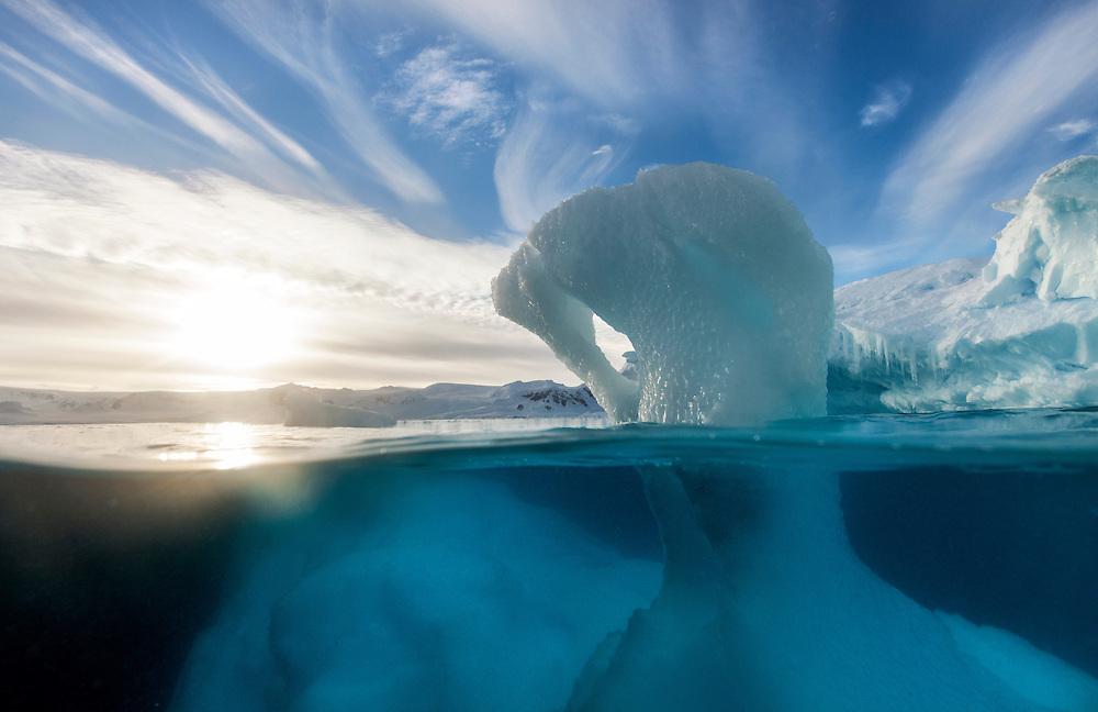Antarctica, Underwater view of melting Iceberg floating near Enterprise Island in Wilhelmina Bay along Antarctic Peninsula