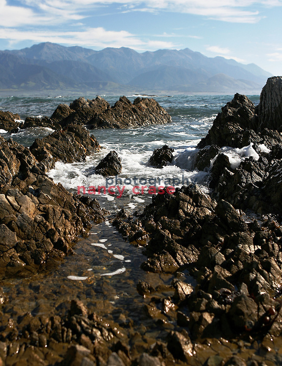 The volcanic origins of the region around Kaikoura, New Zealand, is seen this coastline view of the South Pacific Ocean where whales, dolphins and seals can be often seen.   .