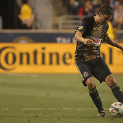 Philadelphia Union Midfielder ALEJANDRO BEDOYA (11) dribbles the ball up field  in the first half of a Major League Soccer match between the Philadelphia Union and Columbus Crew SC Wednesday, July. 26, 2017, at Talen Energy Stadium in Chester, PA.