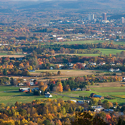 Farms in Hadley, Massachusetts.  University of Massachusetts in Amherst can be seen in the distance.  As seen from Mount Holyoke in Skinner State Park.