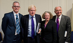 The London Mayor Boris Johnson with other mayor candidates Brian Paddock, Jenny Jones, Ken Livingstone, April 2012. Photo By Andrew Parsons / i-Images