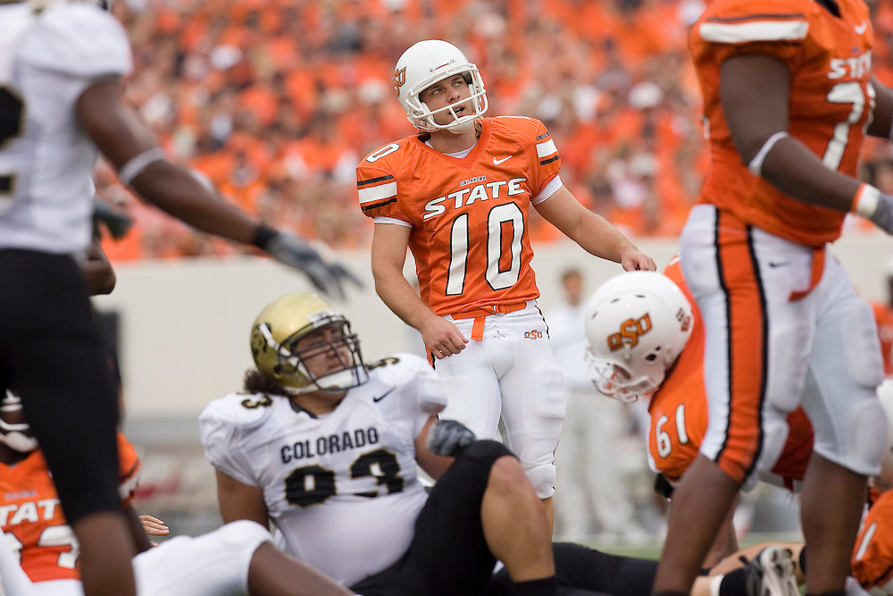 Oklahoma State Cowboys kicker Bruce Redden watches his field goal attempt go wide during a 34 to 0 loss to the Colorado Buffaloes on October 1, 2005 at Boone Pickens Stadium in Stillwater, Oklahoma.