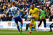 AFC Wimbledon defender Callum Kennedy (23) controls the ball during the EFL Sky Bet League 1 match between Wigan Athletic and AFC Wimbledon at the DW Stadium, Wigan, England on 28 April 2018. Picture by Simon Davies.