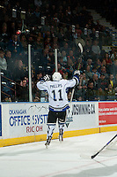 KELOWNA, CANADA - OCTOBER 26: Matthew Phillips #11 of the Victoria Royals celebrates a second period goal against the Kelowna Rockets on October 26, 2016 at Prospera Place in Kelowna, British Columbia, Canada.  (Photo by Marissa Baecker/Shoot the Breeze)  *** Local Caption ***