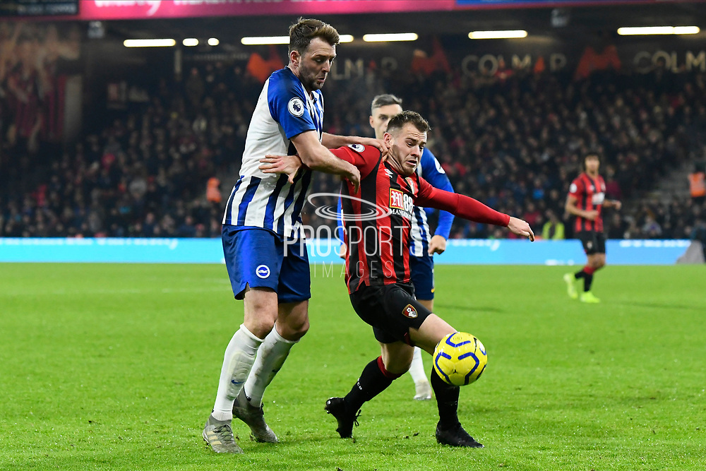 Dale Stephens (6) of Brighton and Hove Albion battles for possession with Ryan Fraser (24) of AFC Bournemouth during the Premier League match between Bournemouth and Brighton and Hove Albion at the Vitality Stadium, Bournemouth, England on 21 January 2020.