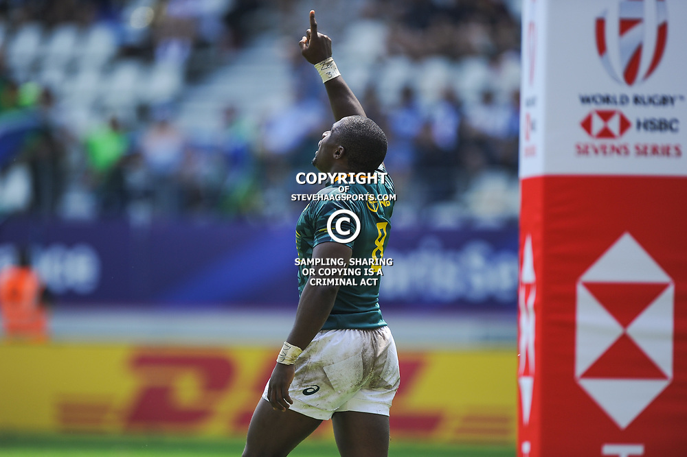 Siviwe Soyizwapi of South Africa celebrates his try during match between South Africa and Russia at the HSBC Paris Sevens, stage of the Rugby Sevens World Series at Stade Jean Bouin on June 9, 2018 in Paris, France. (Photo by Sandra Ruhaut/Icon Sport)