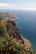 A view of the sea and fields below from the cliffs at Cabo Girao Northwest of<br /> Madeira, Portugal