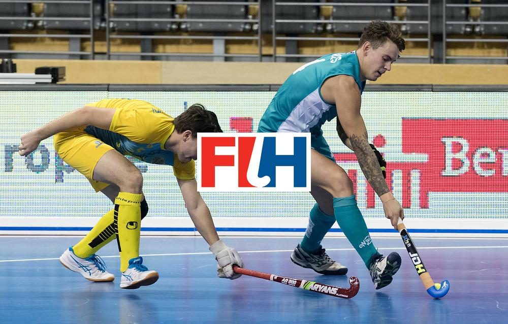 BERLIN - Indoor Hockey World Cup<br /> Men: Australia - Kazakhstan<br /> foto: Jack Hayes.<br /> WORLDSPORTPICS COPYRIGHT FRANK UIJLENBROEK