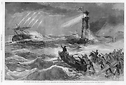 "Civil War: October 29, 1864 Harper's Weekly Shipwreck and lighthouse illustrating the perils of the 1864 presidential election. The South (the ship ""Secession"") is on the rocks (losing the war) and about to be rescued by Democratic peace movement in Chicago. TEXT FROM Harper's: THE WRECK OF SECESSION...UPON page 697 of this paper is a vivid picture of the wreck of the great pirate ship Secession, She is dashed upon the rocks, and is rapidly going to pieces in the terrible storm of Patriotism which beats upon her. Smitten by the fatal thunder-bolts of LINCOLN, GRANT, SHERMAN, FARRAGUT, and SHERIDAN, she lies a helpless bulk amidst the waves. One ray of hope STEPHENS'S "" Hail, holy light !""--shines to cheer her from the Chicago Light house, on whose summit blows the national flag, union down. But the foundation of the Light-house itself is fast crumbling away, dashed to pieces by the irresistible waves of popular indignation...Meanwhile the copper-bound boat, Peace-at-any- Price, is launched by the famous Chicago wreckers, SEYMOUR, BELMONT, VALLANDIGHAM, WOOD, COX, and VOORHEES, while PENDLETON strains at the stern to shove her off, and p gentleman in a Major-General's uniform, upon a prancing war horse that seems to recoil in disgust--cheers them and waves them on. Among the crowd the most conspicuous wrecker carries under his arm a huge plank--Immediate Cessation of Hostilities over which they hope the pirate crew may safely escape, to ship for another voyage. But the storm is overwhelming. Escape is impossible ; and the ship Secession, "" built in the eclipse, and rigged with curses dark,"" is going down forever."