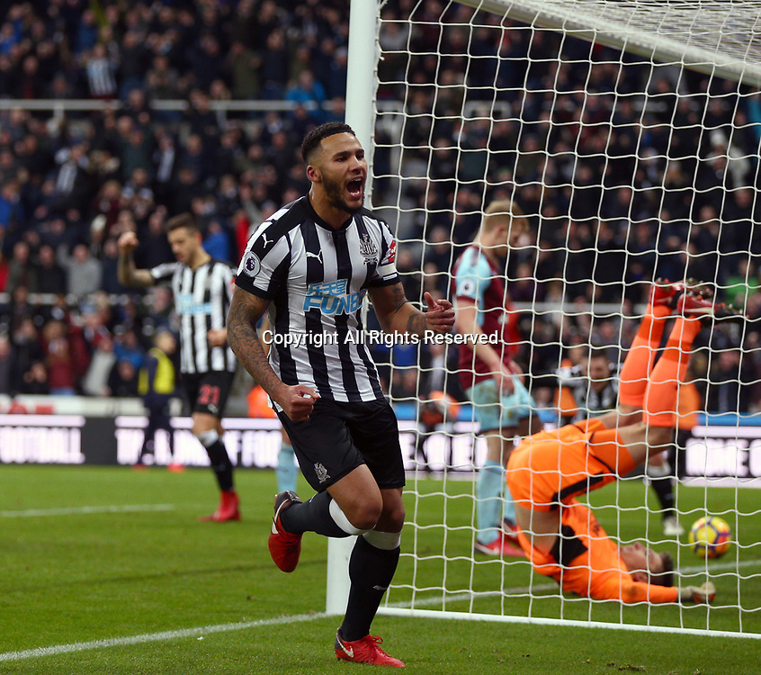 31st January 2018, St James Park, Newcastle upon Tyne, England; EPL Premier League football, Newcastle United Burnley; Jamaal Lascelles of Newcastle United runs to celebrate after he scores in the 65th minute to make it 1-0