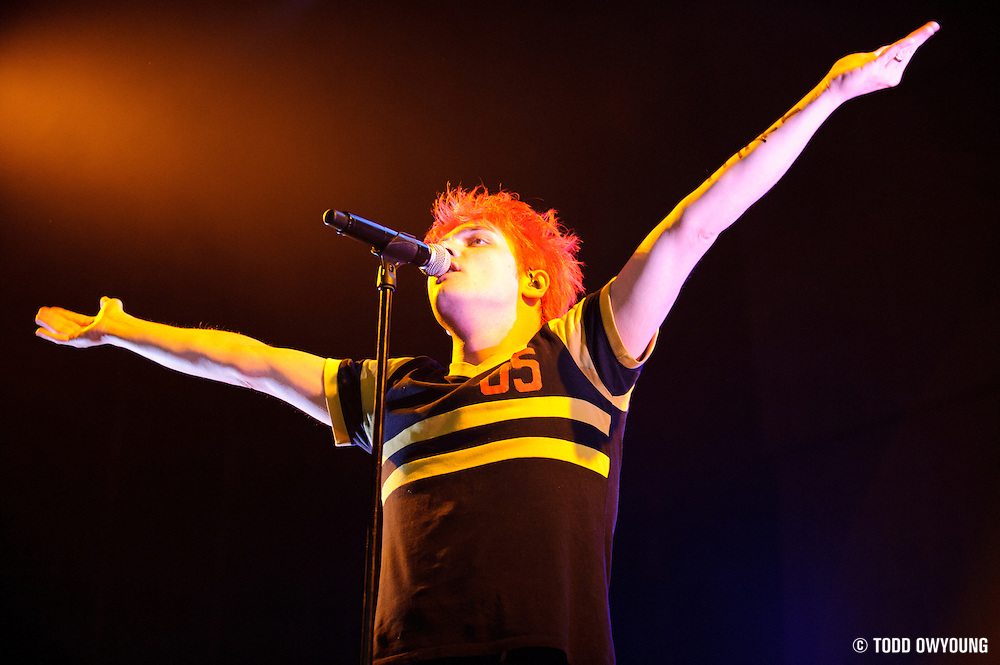 My Chemical Romance  performing in support of Blink 182 on the Honda Civic Tour at Verizon Wireless Amphitheater in St. Louis on August 19, 2011. © Todd Owyoung.
